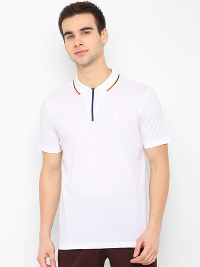 Allen Solly casual white solid t-shirt