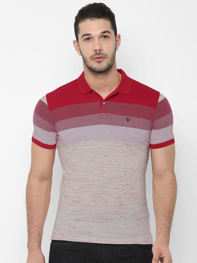 Allen Solly maroon and beige stripe t-shirt