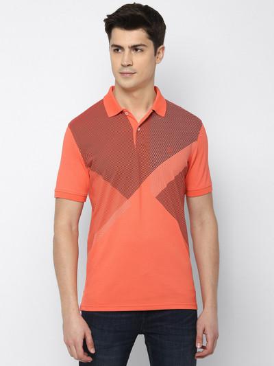 Allen Solly orange printed mens t-shirt