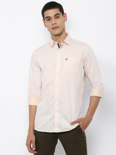 Allen Solly peach solid cotton shirt