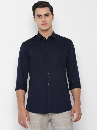Allen Solly solid strong navy shirt