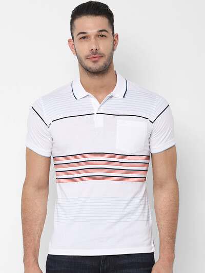 Allen Solly white polo stripe t-shirt