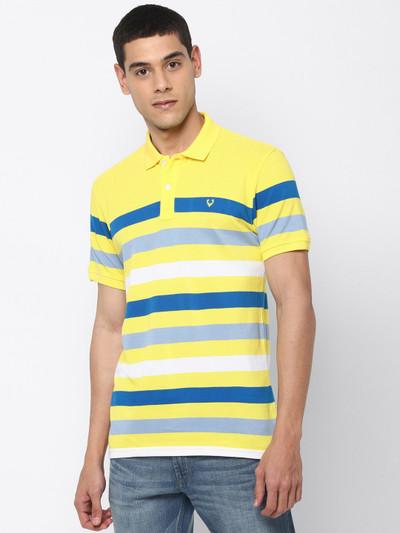 Allen Solly yellow stripe cotton t-shirt