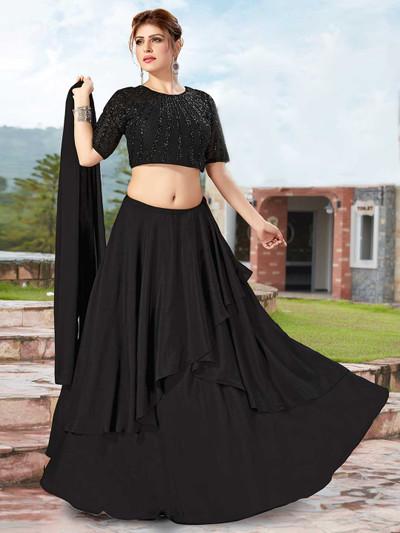 Alluring black satin festive wear lehenga choli