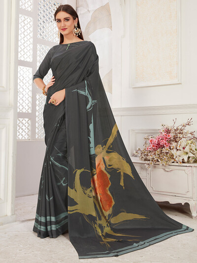 Alluring grey festive wear crepe saree