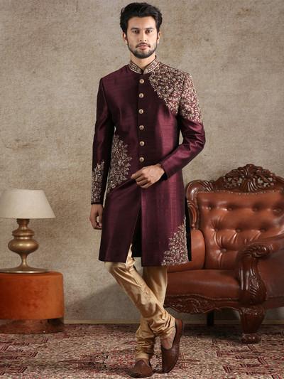 Alluring maroon sherwani in raw silk