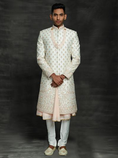 Alluring off white silk double layer sherwani set
