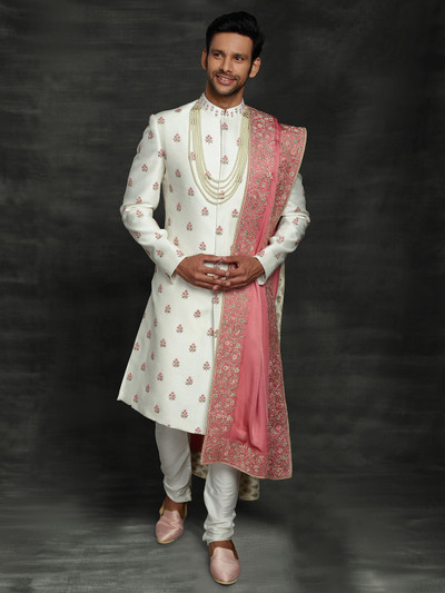 Alluring off white silk sherwani set