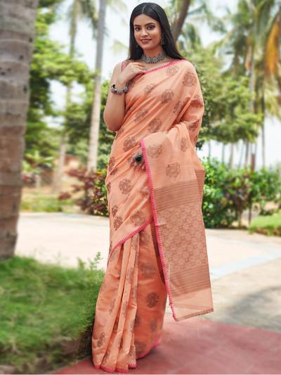 Alluring peach festive wear handloom cotton saree for women