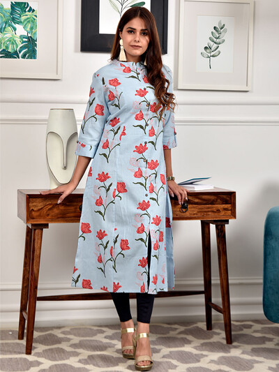 Alluring sky blue printed cotton women kurti