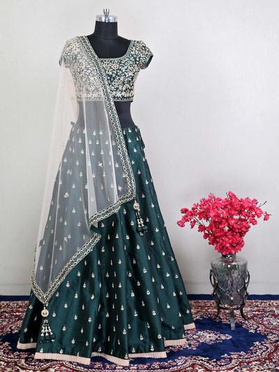 Alluring wedding lehenga choli for womens in bottle green