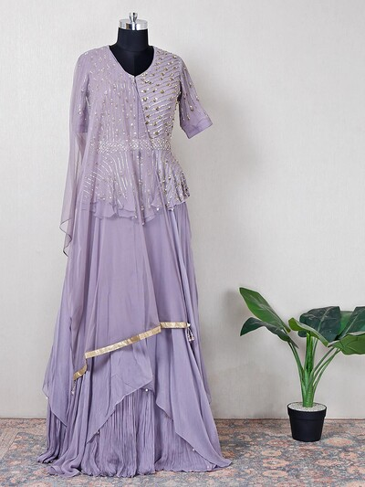 Alluring wedding wear high low lehenga style purple suit