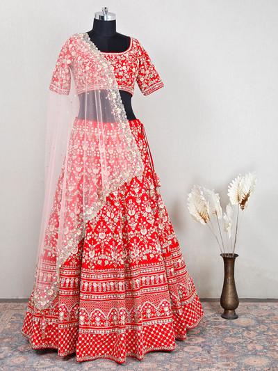 Alluring wedding wear red lehenga with handwork details