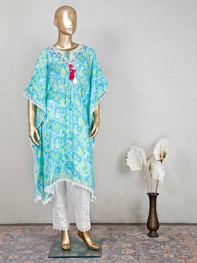 Amaizng blue cotton salwar kameez for festive wear