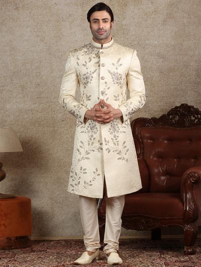 Amazing beige silk sherwani for wedding