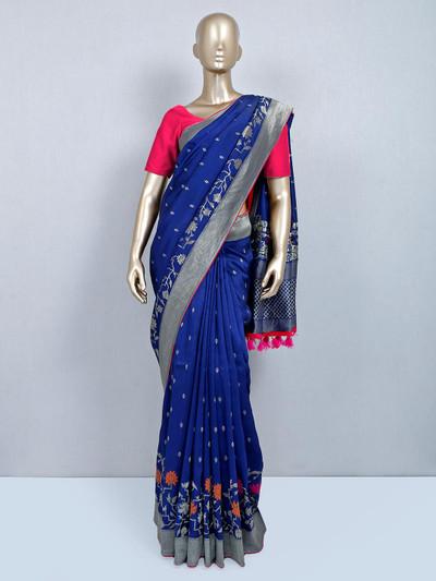 Amazing blue muga silk saree for festivals