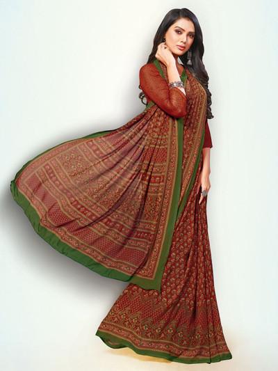 Amazing brown printed georgette saree