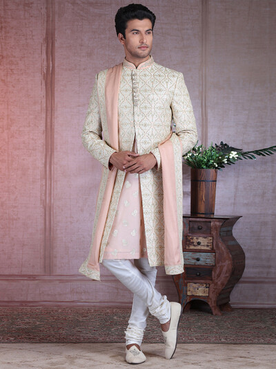 Amazing cream raw silk sherwani for wedding