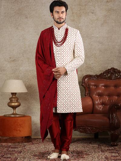 Amazing cream silk sherwani special for wedding