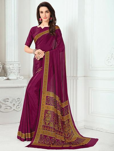 Amazing printed crepe purple saree
