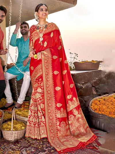 Amazing red banarasi silk wedding events saree