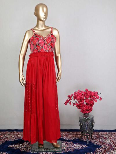 Amazing red designer georgette wedding wear salwar kameez
