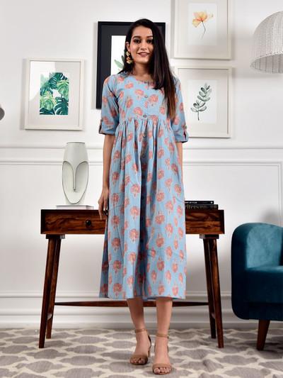 Amazing sky blue casual wear womens printed kurti