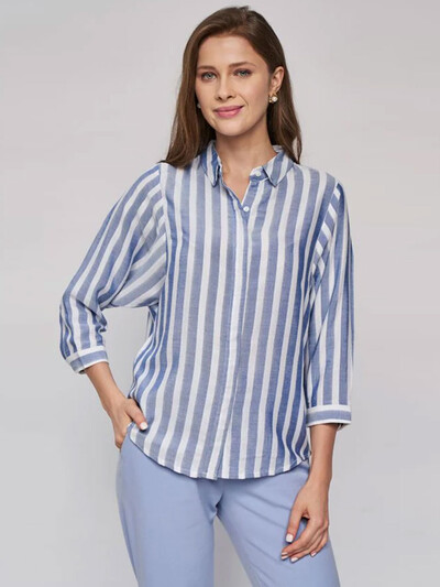 AND Blue Striped A-Line Top