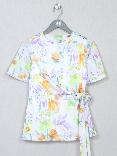 AND printed white top for women