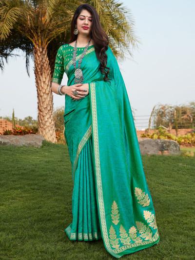Aqua banarasi silk festive wear saree for women