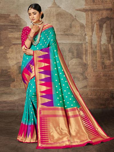 Aqua banarasi silk wedding session saree