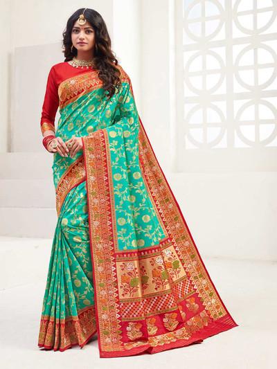 Aqua banarasi silk wedding wear saree