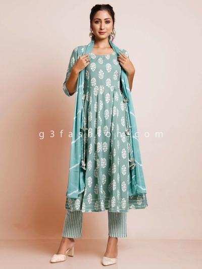 Aqua blue printed cotton suit for women