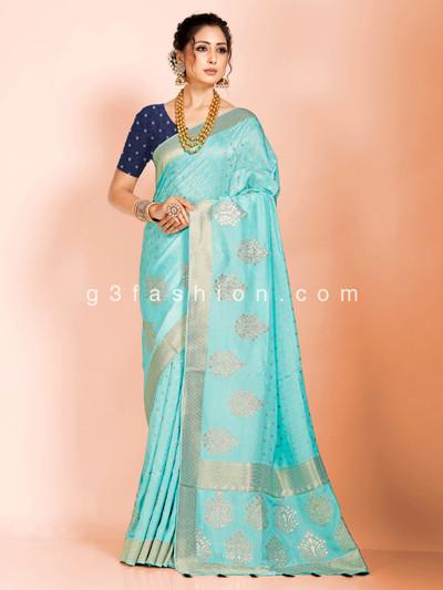 Aqua festive wear dola silk saree