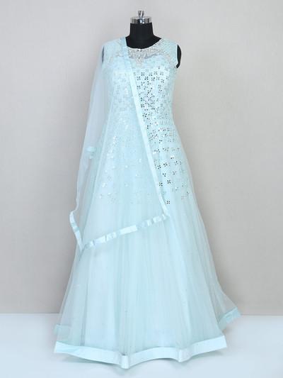 Aqua gown for women in net for wedding