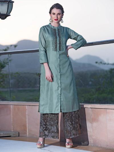 Aqua green casual wear cotton silk kurti