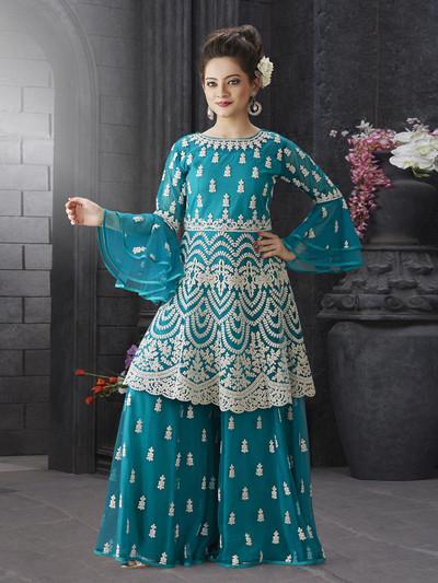 Aqua green net wedding sharara suit
