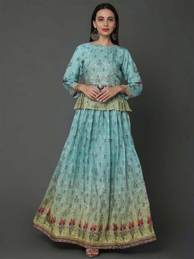 Aqua pure musleen cotton fabric festive lehenga style suit