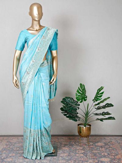 Aqua raw silk wedding wear silk saree
