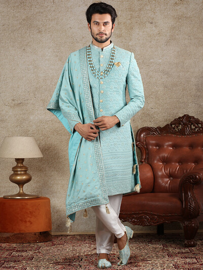 Aqua silk fabric sherwani for wedding occasions