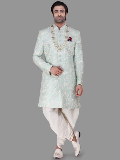 Aqua silk indowestern for wedding