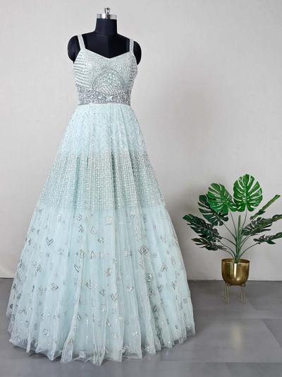 Aqua wedding wear net gown