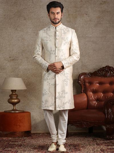 Asthetic beige raw silk sherwani set
