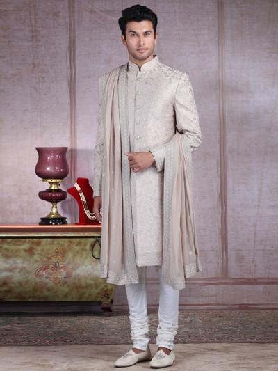 Asthetic beige silk sherwani set