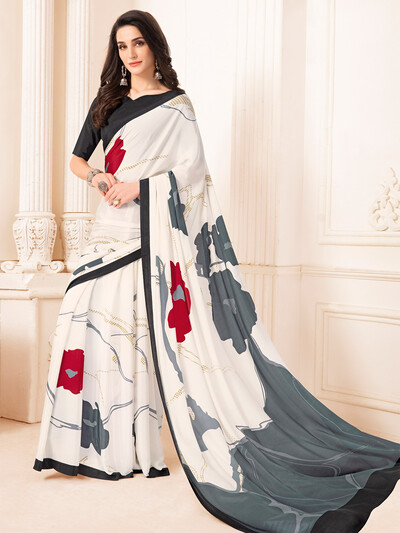 Attirable printed crepe off white saree