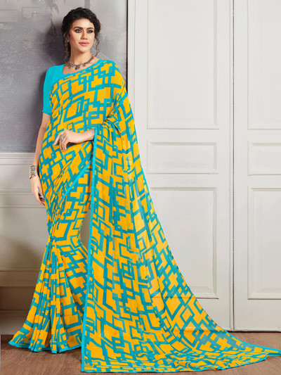 Attractive aqua and yellow printed georgette saree for festive wear