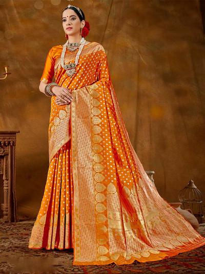 Attractive mustard wedding wear banarasi silk saree for women