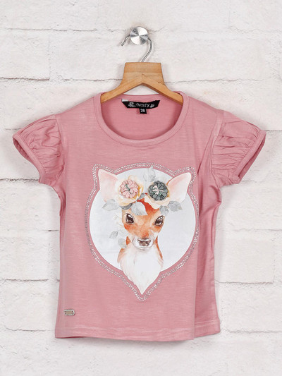 Attractive onion pink printed cotton top