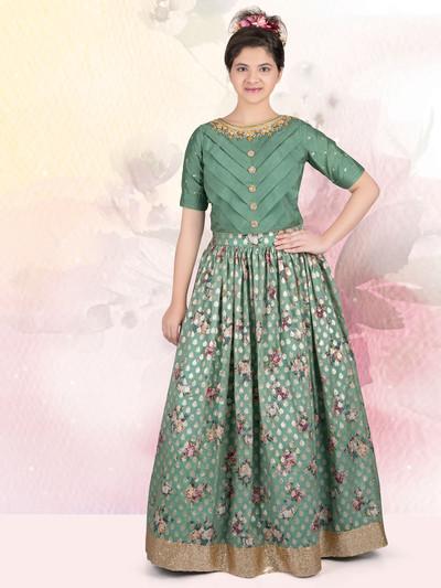 Attractive pista green lehenga choli for wedding