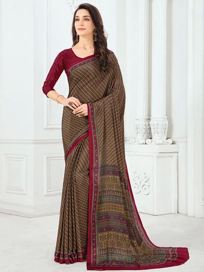 Attractive printed crepe brown saree
